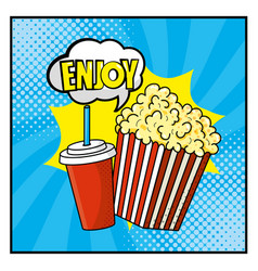 popcorn with plastic soda cup and enjoy message vector image