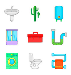 Potable water icons set cartoon style vector