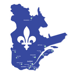 quebec map province with cities vector image