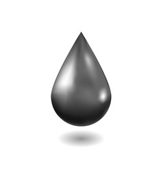 realistic black oil drop isolated on white vector image