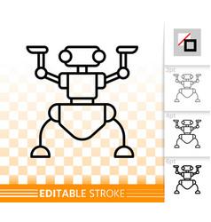 Robot ant simple black line icon vector
