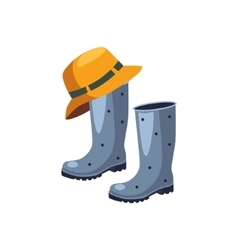 Rubber Boots And Hat vector