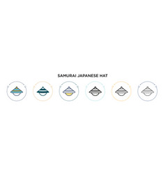 Samurai japanese hat icon in filled thin line vector
