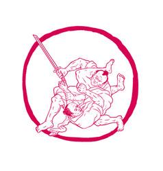 Samurai jui jitsu fighting enso drawing vector