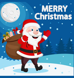 santa claus carries a bag full of gifts in the vector image