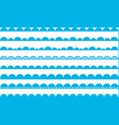 Scallop border waves blue vector