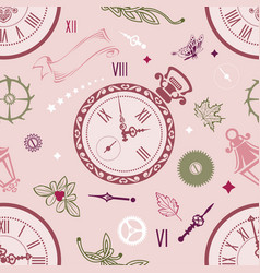 seamless patterns clock vector image
