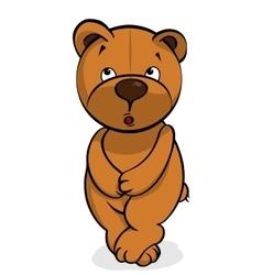 Self-conscious plush bear vector