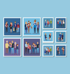 Set cute family members vector