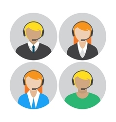 Set icons with callcenter agents talking vector