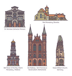 Set isolated churches europe religion vector