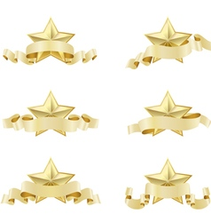 set of golden realistic stars vector image