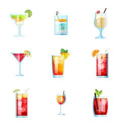 Set of nine tropical cocktails margarita tom vector