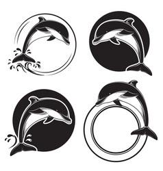 set vintage dolphin icons emblems and labels vector image