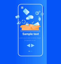 social media icons in cardboard box online vector image