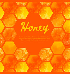 Square warm card with watercolor honeycomb vector
