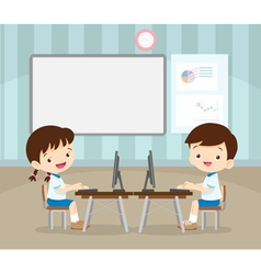 students learning with computer vector image