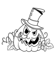 Terrible lantern from pumpkin in cylinder vector