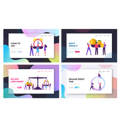 Time and money website landing page set vector