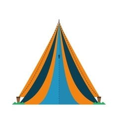 Triangle tent tourism travel blue and yellow vector