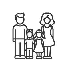 two children family - modern line design vector image