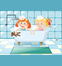 Two girls taking bubble bath vector