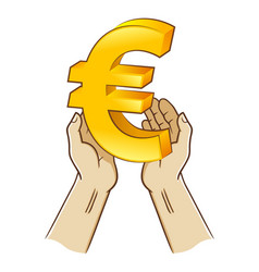 two hand holding euro currency symbol vector image
