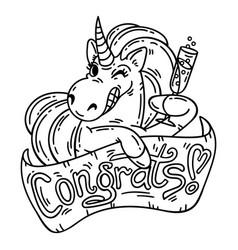 Unicorn greeting card vector