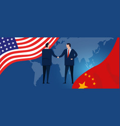 usa and china reach out their hands maing deals vector image