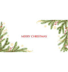 watercolor christmas banner with green pine vector image