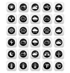 Weather round icons set vector