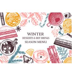 Winter desserts and hot seasonal drinks design vector