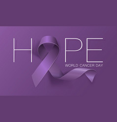 World cancer day concept hope lavender ribbon vector