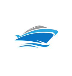 yacht speed boat logo concept vector image