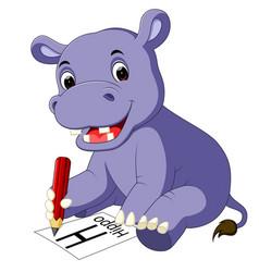 cute hippo cartoon holding pencil vector image vector image
