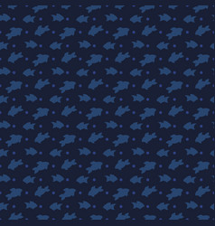 fishes silhouettes seamless pattern design - sea vector image vector image