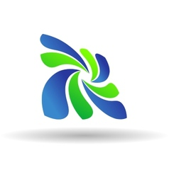 Fresh green and blue Eco or Bio icon vector image