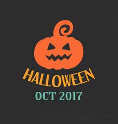 halloween pumpkin emblem template logo badge vector image