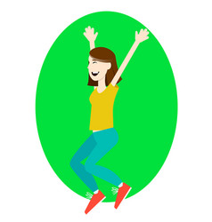 happy girl jumping up with excitement vector image vector image