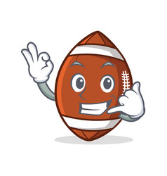 okay american football character cartoon call me vector image