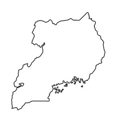 uganda map of black contour curves on white vector image vector image