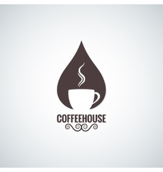 coffee cup drop logo background vector image vector image