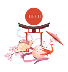 japanese culture elements retro cartoon vector image vector image