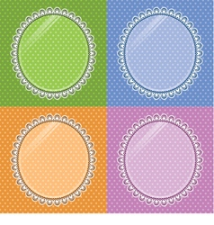 Lace oval frame with glass on the background polka vector image vector image