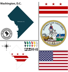 Map of Washington DC with seal vector image vector image
