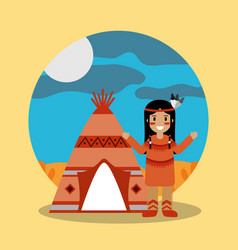 native american indian standing teepee landscape vector image