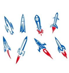 Set of rockets and missiles vector image