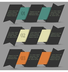 Black origami paper numbered banners vector image