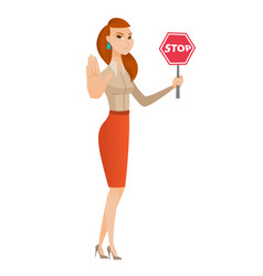 caucasian business woman holding stop road sign vector image vector image