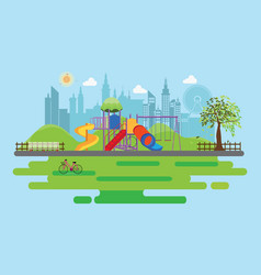 playground in the public park in the city vector image